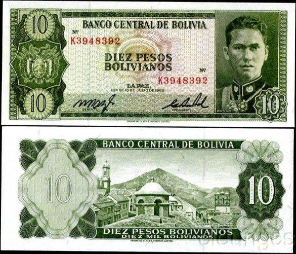 10 Pesos Bolivianos Bolívia 1962, Pick 154