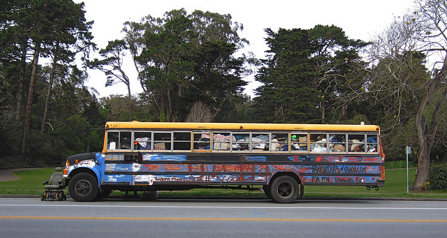 Graffiti school bus, San Francisco (2012)