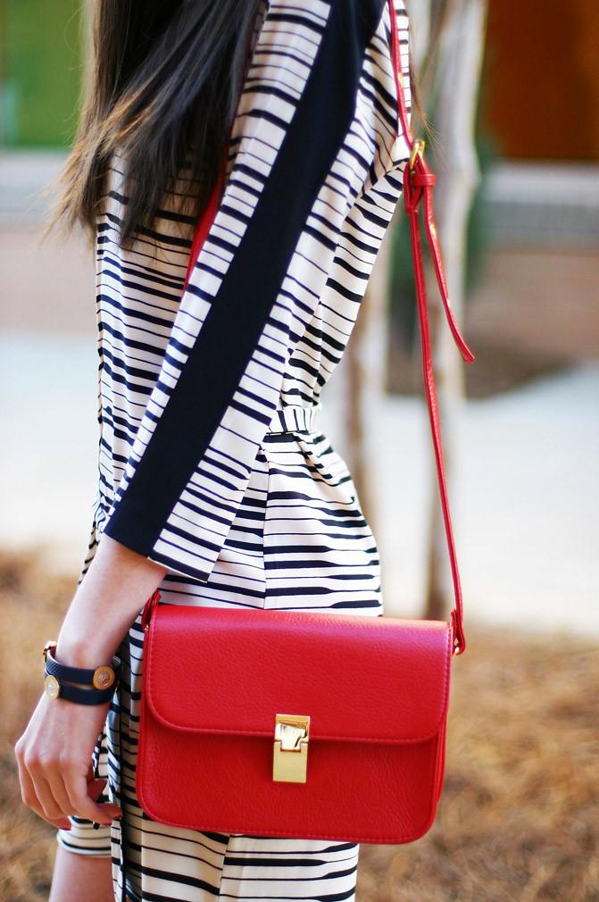 armani exchange, seah wrap element bracelet, zara sandals, red celine bag, fashion