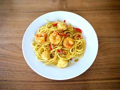 Spaghetti mit Crevetten und Jakobsmuscheln