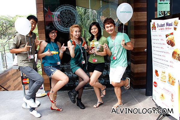 Doing a K-Pop Wonder Girls pose outside the restaurant