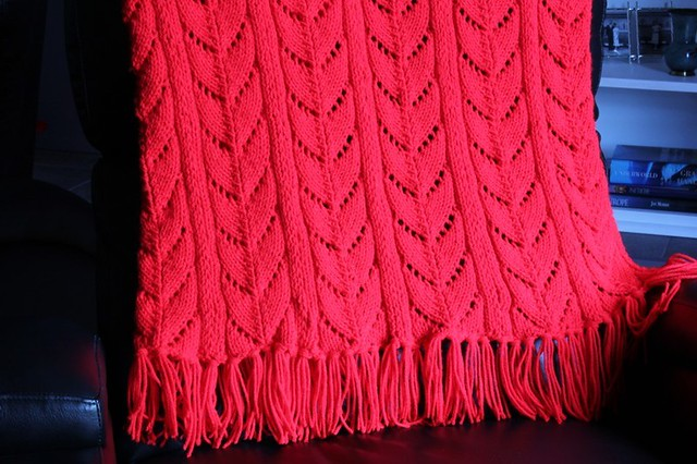 Red knitted afghan Eight panel knitted afghan By ...