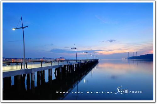 park bridge sea reflection sunrise river fishing woodlands nikon factory jetty malaysia promenade jb sinagpore johorbahru d300 fiftymm nikond300 fiftymm99 woodlandswaterfront gettyimagessingaporeq2