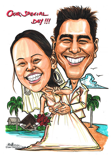 couple wedding caricatures at Phuket