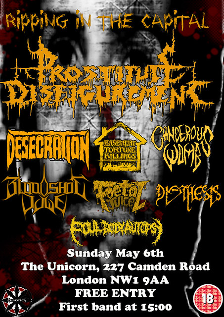 Prostitute Disfigurement London Unicorn Camden Death Metal alldayer