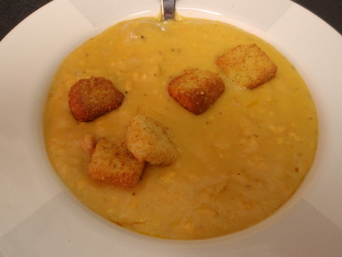 cheese soup, with croutons