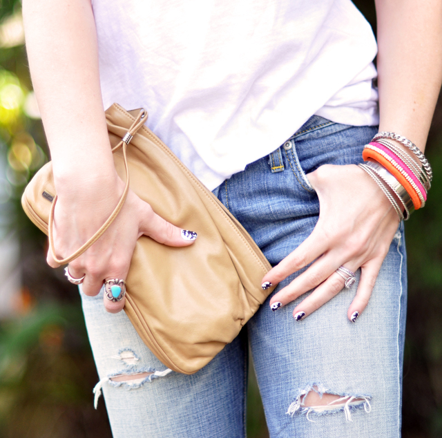 nude clutch-ripped jeans-accessories