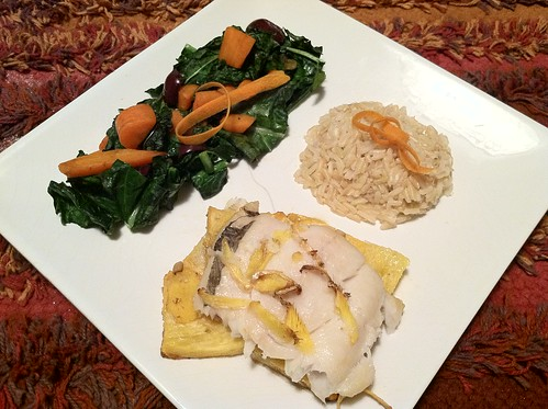 Roasted pineapple and ginger  Black Cod (sable fish) with Kale carrot side and brown rice