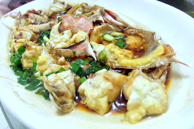 Steamed Crab with Onion Oil and Soy Sauce