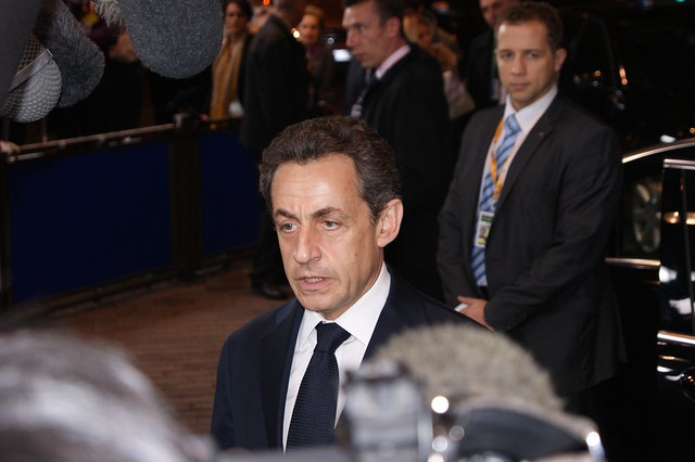 Nicolas Sarkozy arrives at the European Summit in Brussels