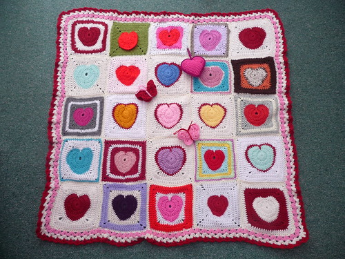 'One Heart From Around The World' Challenge. Thanks everyone great Squares! 'Warming Hearts!' thanks Ellen x