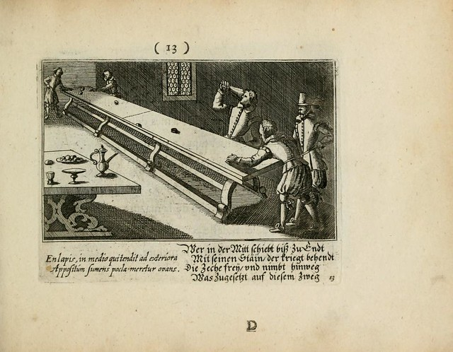 baroque engraving of table shuffleboard scene