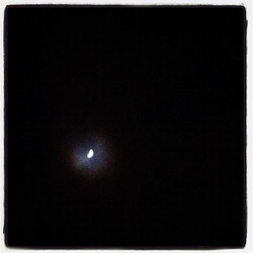 A half-moon in the sky tonight.