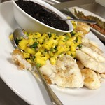 Fish with black bean and mango salsa