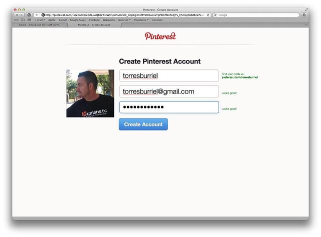 Registro de usuarios en Pinterest