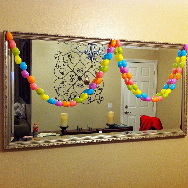 A little Easter Egg garland on the mirror. I just found the plastic eggs that I bought on clearance last year. I need some ribbons to complete it.