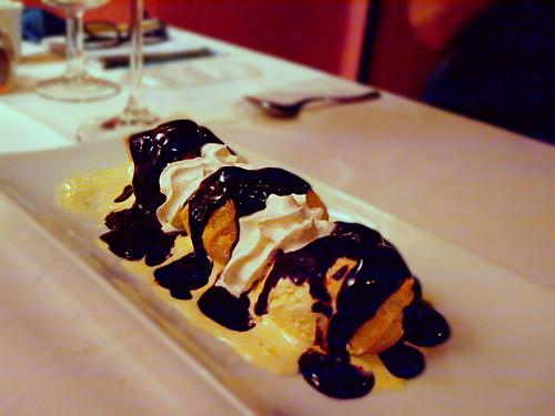 Chocolate Profiteroles at Bistro Restaurant Montmartre, Costa Teguise, Lanzarote