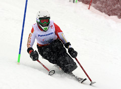 Kim Joines competes in the slalom in Sochi, RUS during the 2014 Paralympic Winter Games