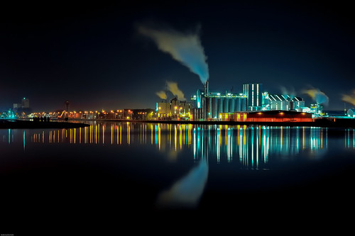 Industrial shapes at night.