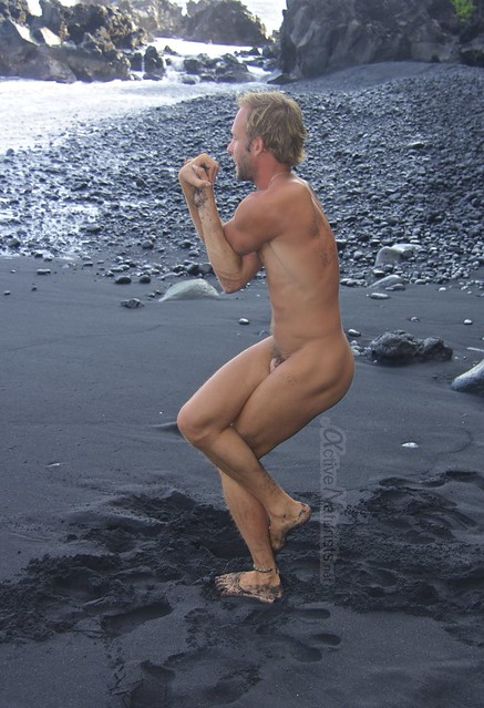 naturist yoga 0009 Kehena black sand beach, Hawaii, USA