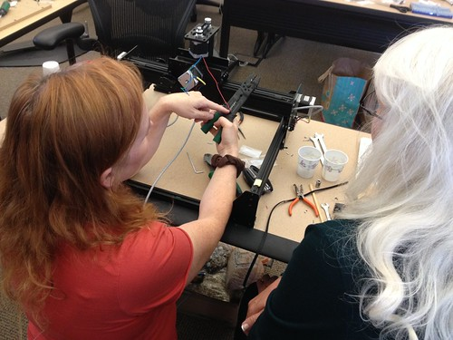 X-Carve Build Day 2 - Diane and Jennifer Wiring the Z-Axis