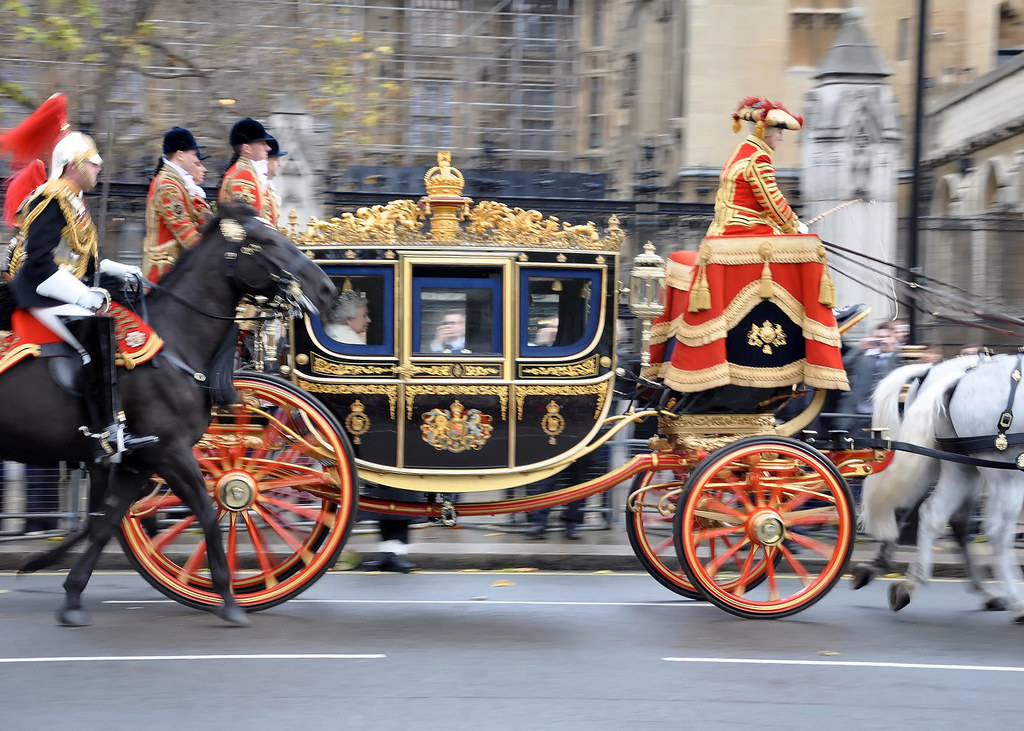 Her Majesty The Queen traveling for the State Opening of Parliament.. Credit Foreign and Commonwealth Office