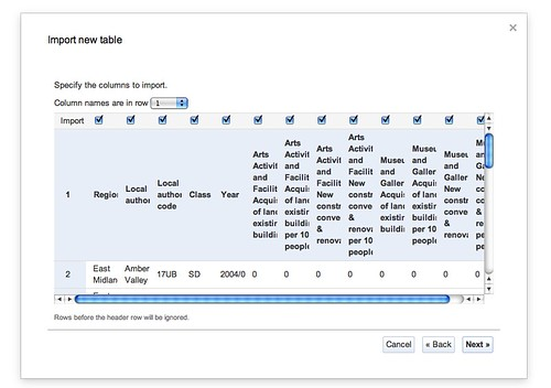 Google Fusion Table - data import