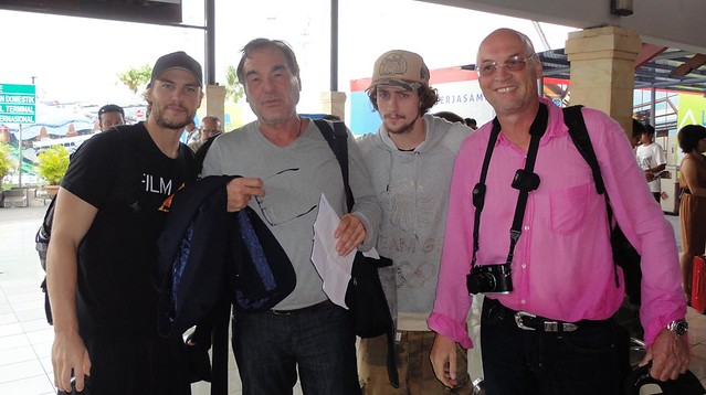 Taylor Kitsch (Chon), Oliver Stone, Aaron Johnson (Ben) and Moritz Borman (Producer)