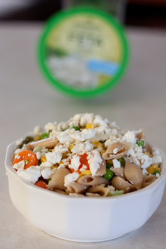 Whole wheat pasta w/veggies & feta