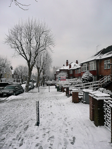 Willesden Green - Snowed Pavement