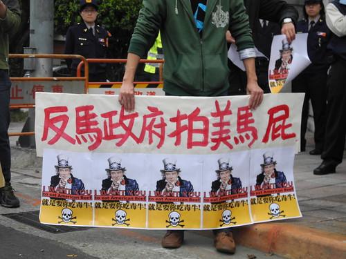 台灣農村陣線6日到總統府前抗議馬政府在美牛進口議題上粗暴的解禁政策。