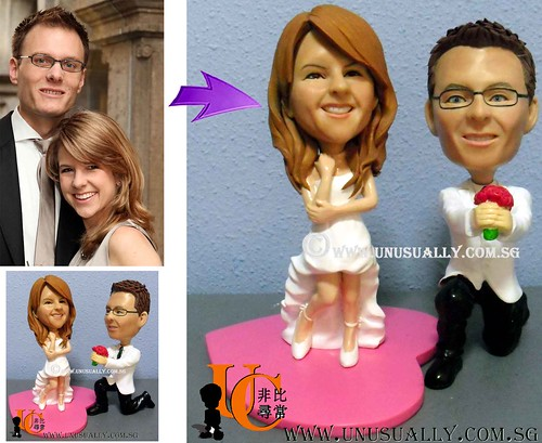 Custom Lovely Proposing Couple Figurines - @ www.unusually.com.sg
