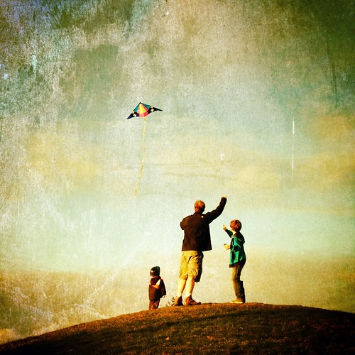 three boys, one kite