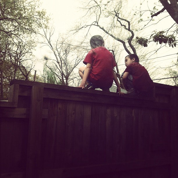 Boys on a fence.