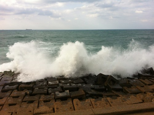 Water Invading Qaitbey Citadel at Alexandria, Egypt.