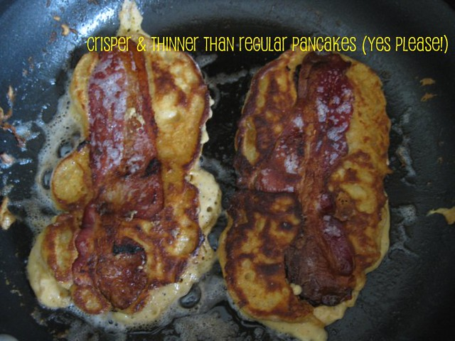 peanut flour-buttermilk pancakes stuffed w/ bacon