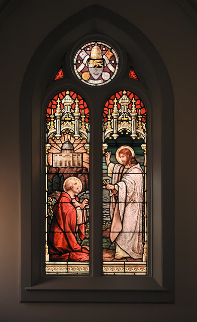 Saint Peter Roman Catholic Church, in Jefferson City, Missouri, USA - stained glass window of Christ granting Saint Peter the keys to the Kingdom of Heaven