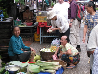 Luang Prabang morning market shopper