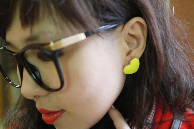 Forever21 Yellow heart earrings, Vintage glasses