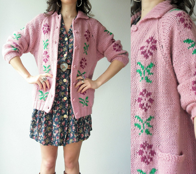 dusty rose floral knit cardi