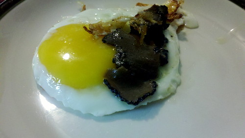 Fried egg with sliced truffles