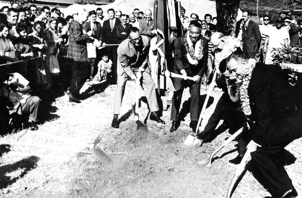 <p>Vice president Lyndon B. Johnson, far right, breaks ground for the East-West Center in May, 1961. Assisting are, from left, Hawai'i governor William F. Quinn, U.S. senators Hiram L. Fong and Oren E. Long, and U.S. representative Daniel K. Inouye.</p>