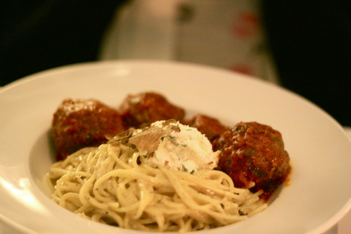 Kobe Meatball in truffle cream sauce at Italian Kitchen, Vancouver