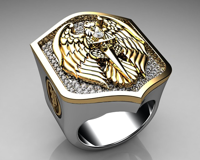 unique mens ring eagle shield ring sterling silver and