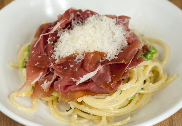 Bucatini with Meyer Lemon Cream Sauce and Prosciutto di Parma