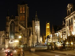Belgium: Ghent by night - the three towers