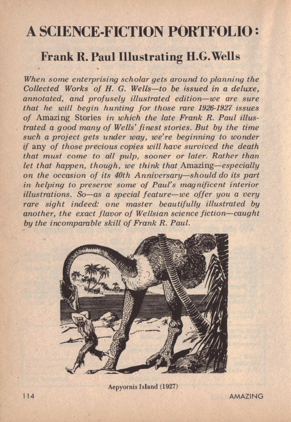 Frank R Paul - H.G. Wells Illustrations (Published in Amazing Stories,April 1966, page 114