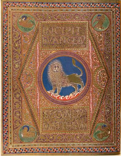 007-Incipit con figura de leon-Evangeliar  Codex Aureus - BSB Clm 14000-© Bayerische Staatsbibliothek