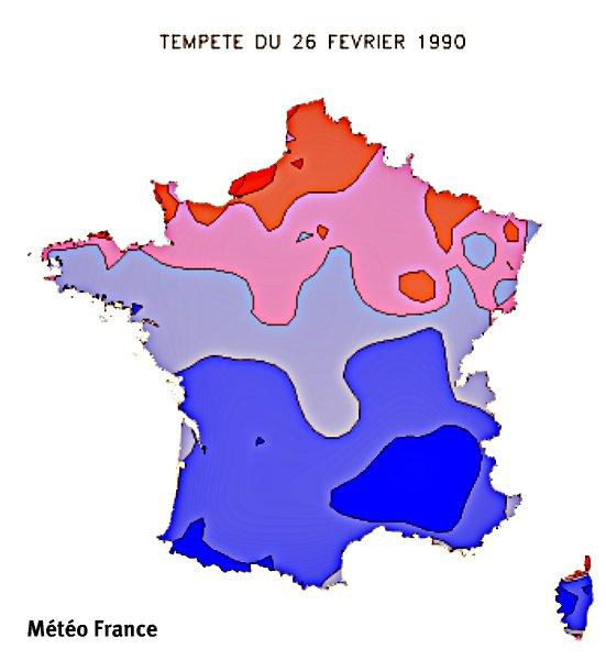 rafales maximales lors de la tempête du 26 février 1990 météopassion