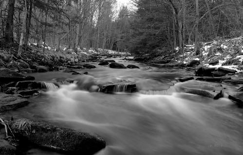 longexposure winter bw snow water creek stream pennsylvania pa february venango